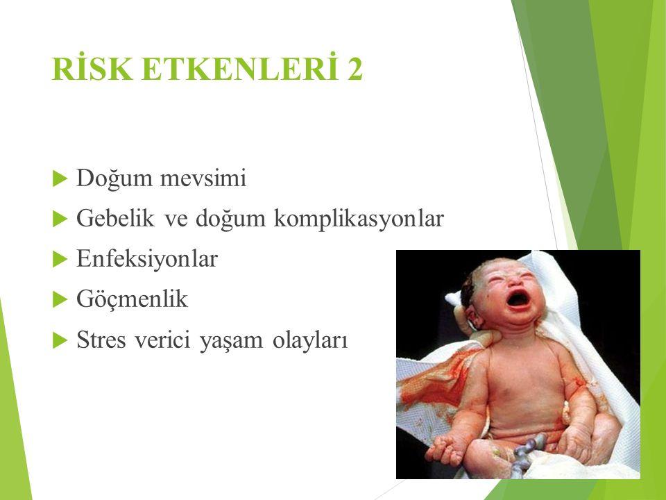 RİSK ETKENLERİ 2 Doğum mevsimi Gebelik ve doğum komplikasyonlar