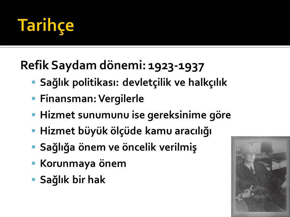 Tarihçe Refik Saydam dönemi: 1923-1937