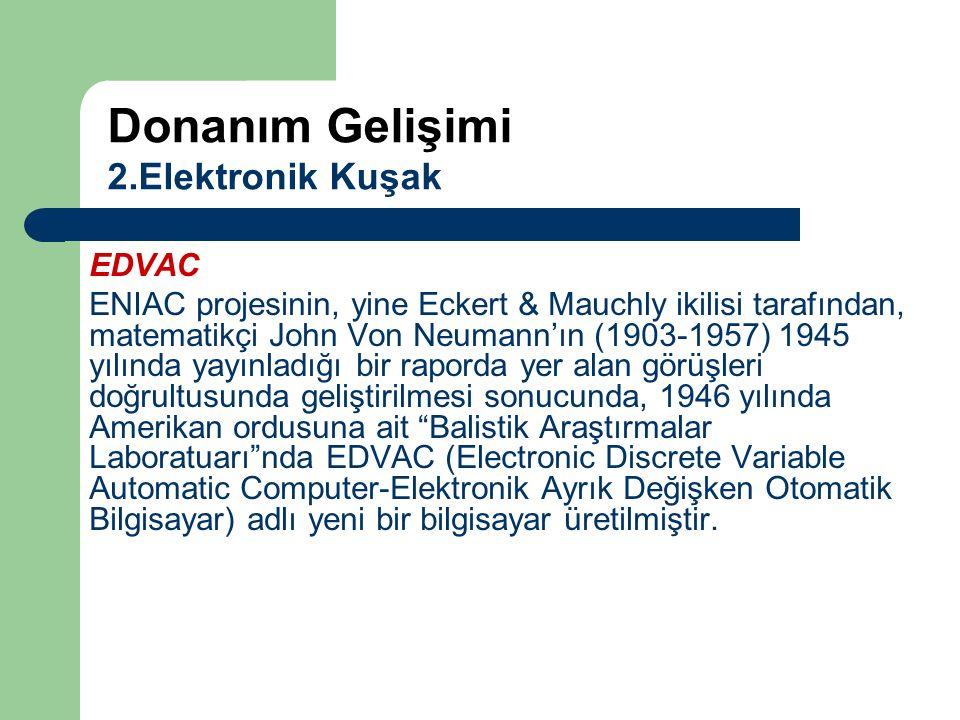 Donanım Gelişimi 2.Elektronik Kuşak