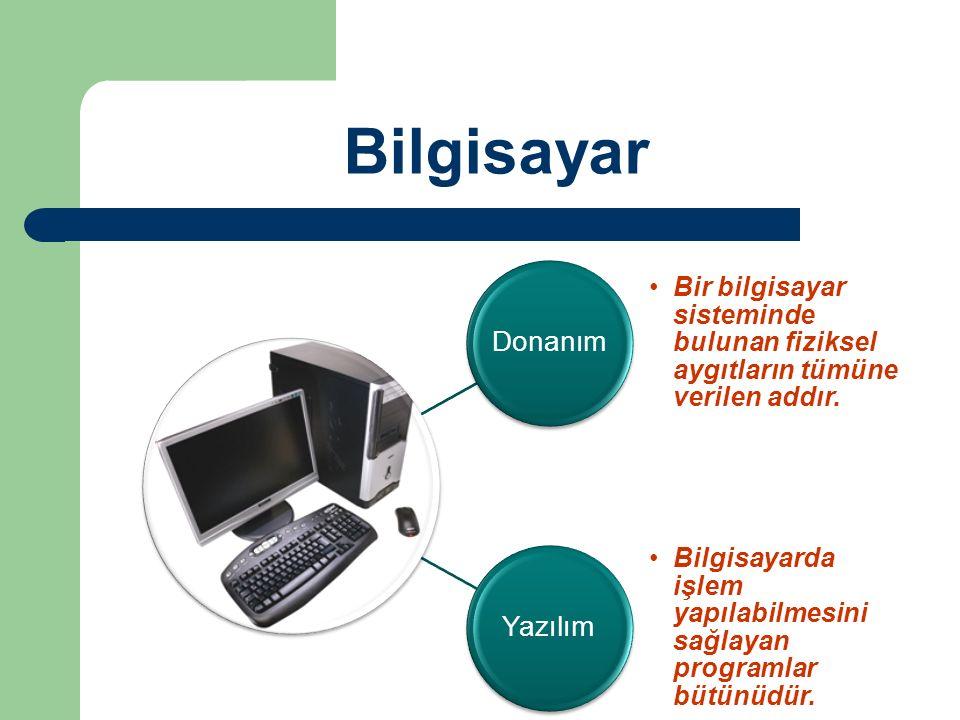 Bilgisayar Donanım. Bir bilgisayar sisteminde bulunan fiziksel aygıtların tümüne verilen addır. Yazılım.