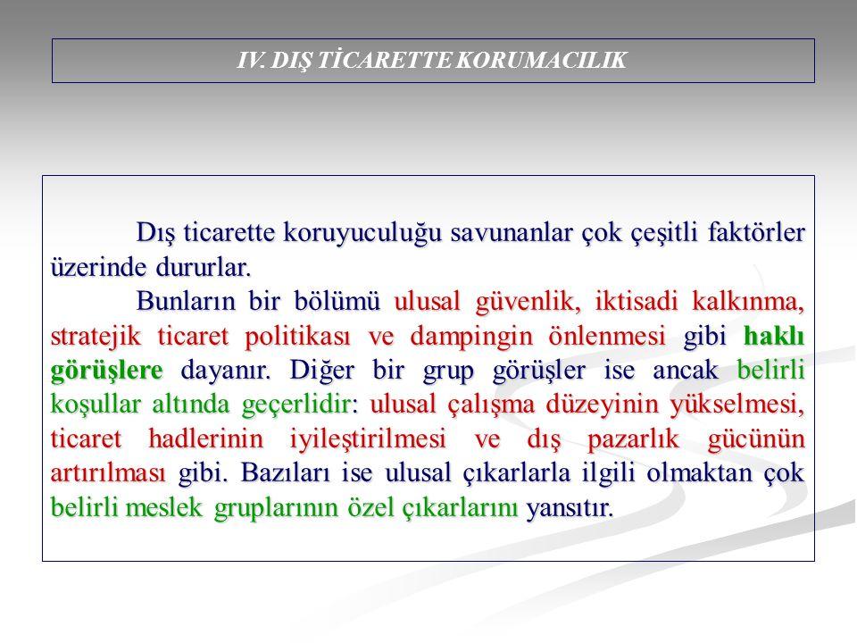 IV. DIŞ TİCARETTE KORUMACILIK