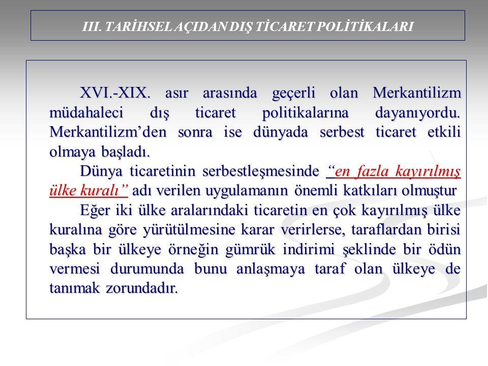 III. TARİHSEL AÇIDAN DIŞ TİCARET POLİTİKALARI