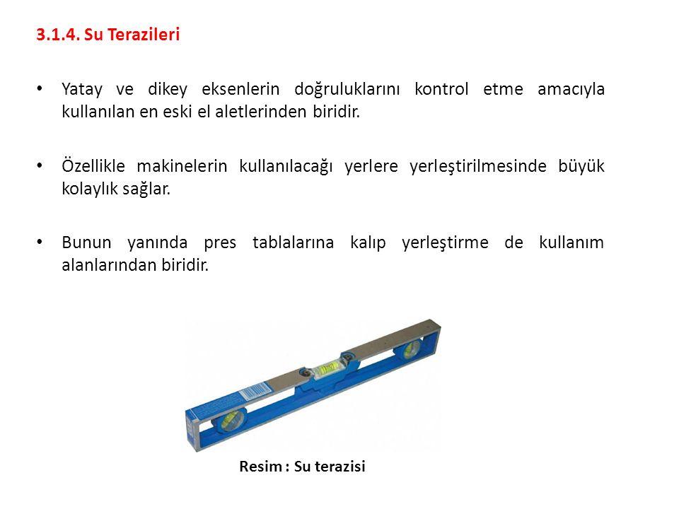 3.1.4. Su Terazileri Yatay ve dikey eksenlerin doğruluklarını kontrol etme amacıyla kullanılan en eski el aletlerinden biridir.