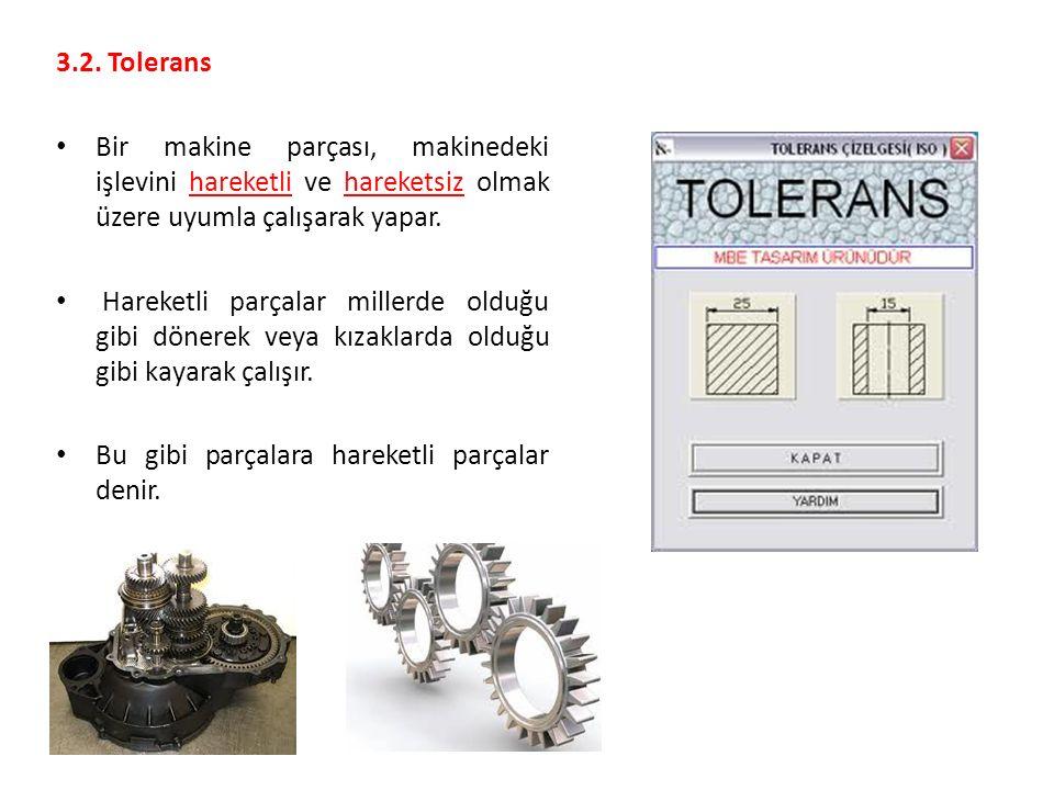 3.2. Tolerans Bir makine parçası, makinedeki işlevini hareketli ve hareketsiz olmak üzere uyumla çalışarak yapar.