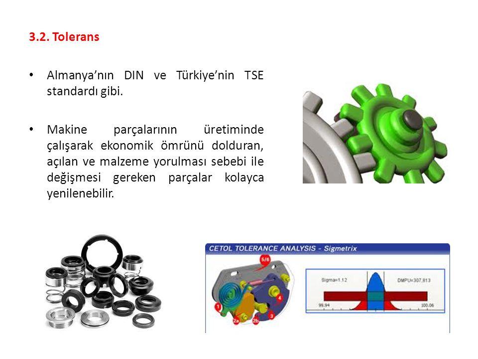 3.2. Tolerans Almanya'nın DIN ve Türkiye'nin TSE standardı gibi.