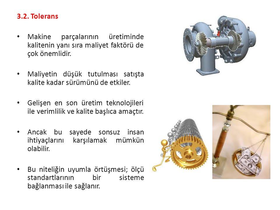 3.2. Tolerans Makine parçalarının üretiminde kalitenin yanı sıra maliyet faktörü de çok önemlidir.