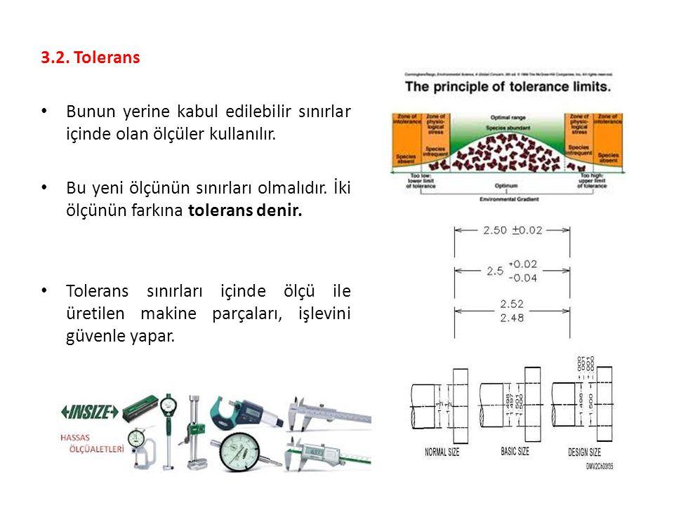 3.2. Tolerans Bunun yerine kabul edilebilir sınırlar içinde olan ölçüler kullanılır.