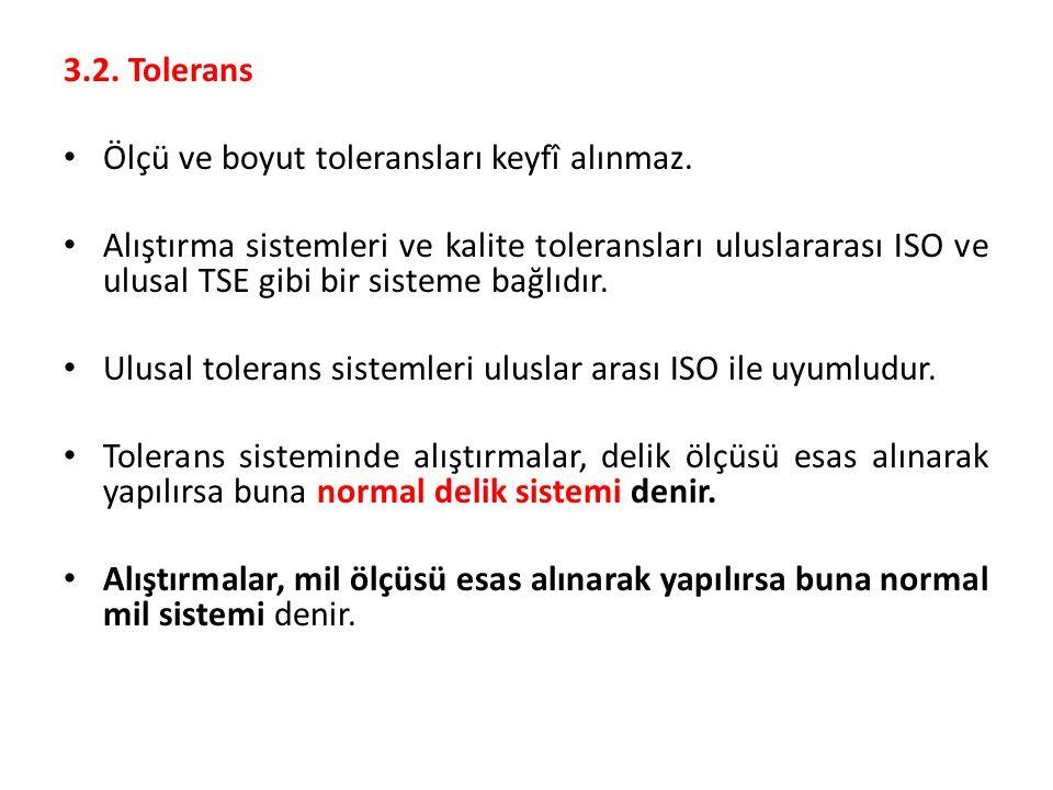 3.2. Tolerans Ölçü ve boyut toleransları keyfî alınmaz.