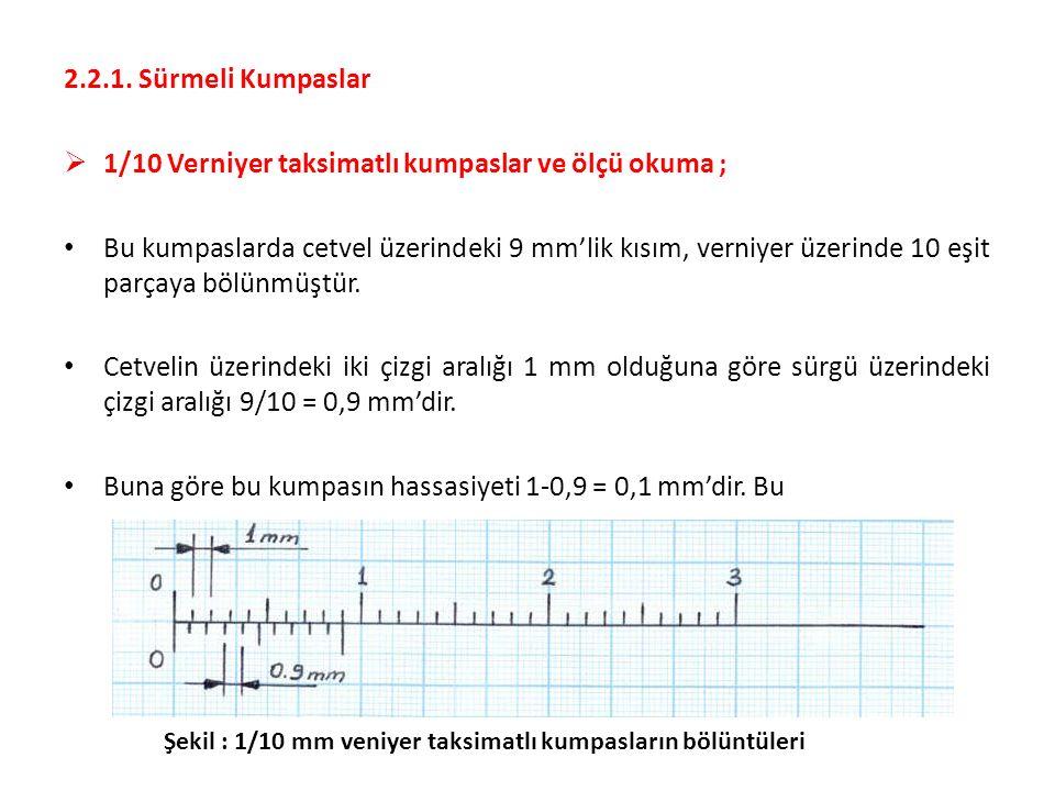1/10 Verniyer taksimatlı kumpaslar ve ölçü okuma ;