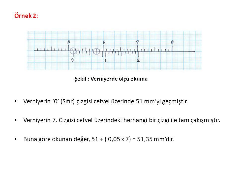 Verniyerin '0' (Sıfır) çizgisi cetvel üzerinde 51 mm'yi geçmiştir.