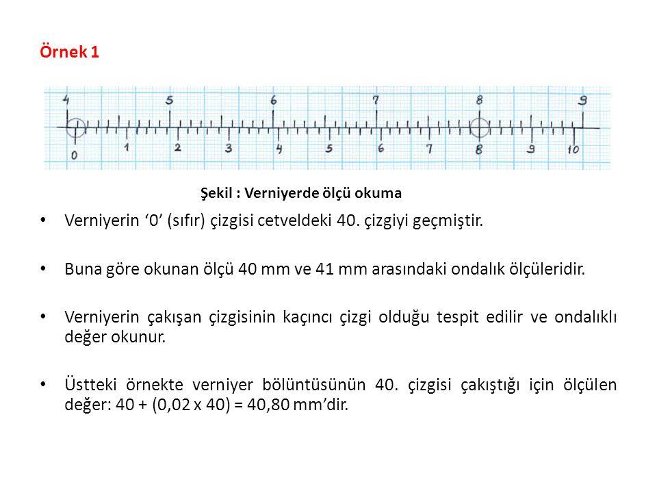 Verniyerin '0' (sıfır) çizgisi cetveldeki 40. çizgiyi geçmiştir.