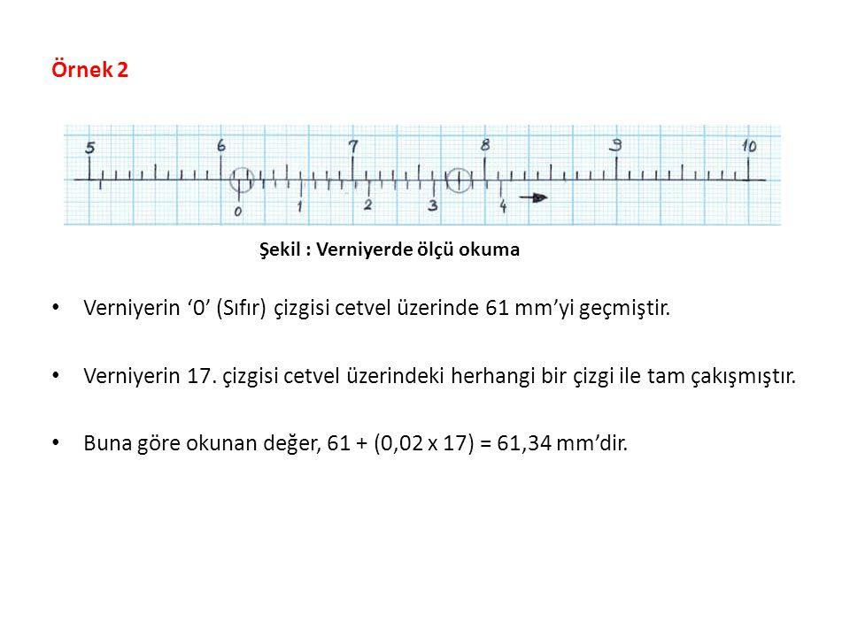 Verniyerin '0' (Sıfır) çizgisi cetvel üzerinde 61 mm'yi geçmiştir.