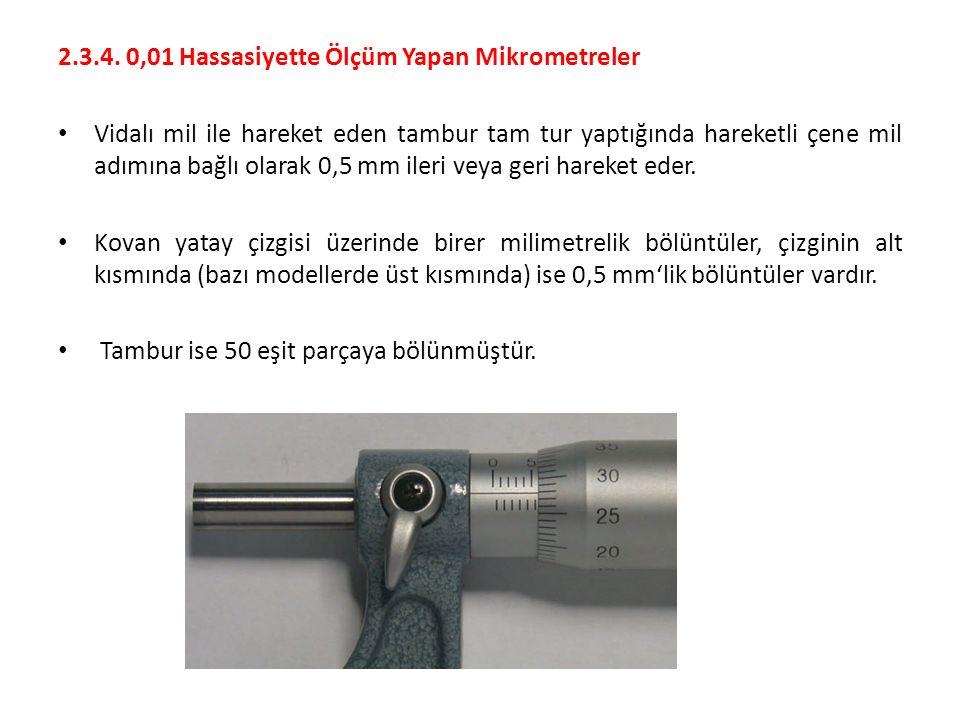 2.3.4. 0,01 Hassasiyette Ölçüm Yapan Mikrometreler