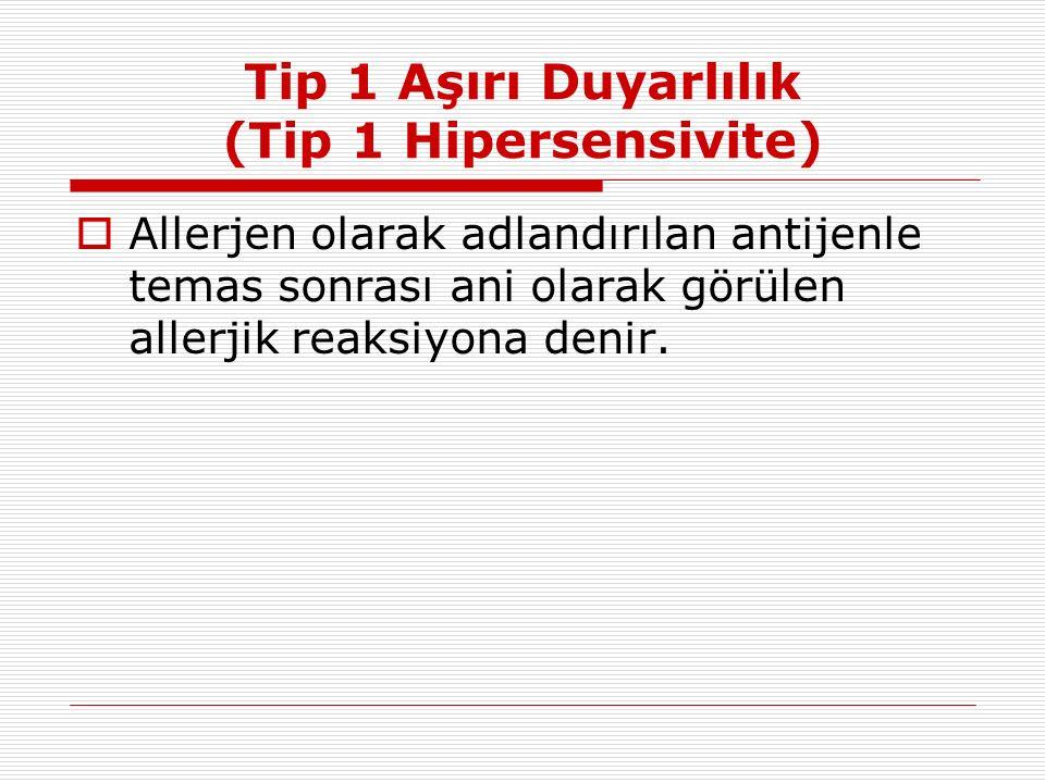 Tip 1 Aşırı Duyarlılık (Tip 1 Hipersensivite)