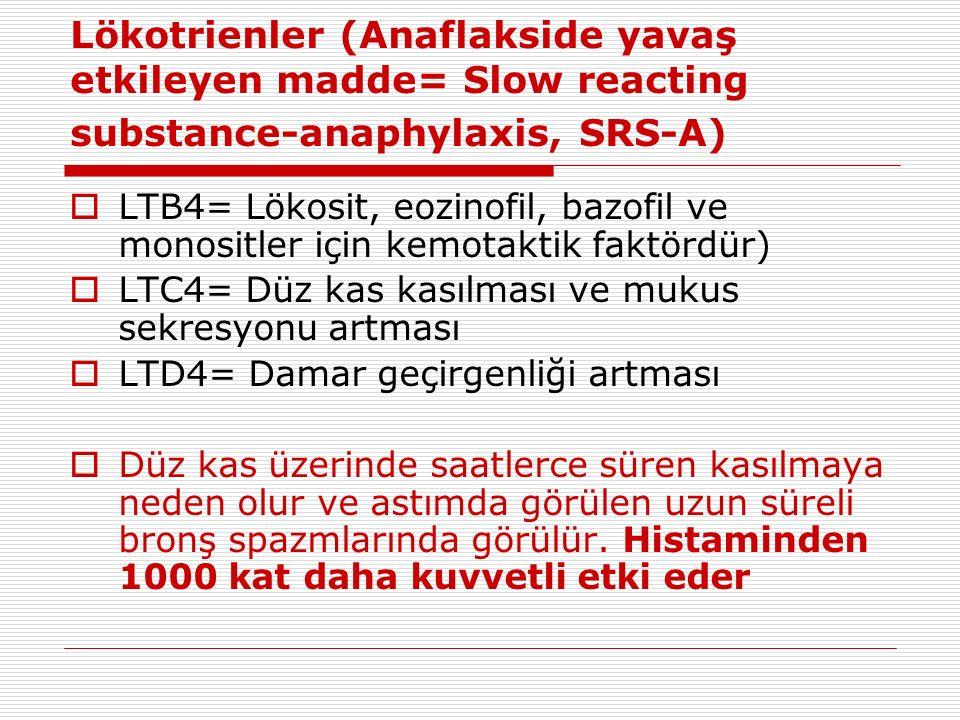 Lökotrienler (Anaflakside yavaş etkileyen madde= Slow reacting substance-anaphylaxis, SRS-A)