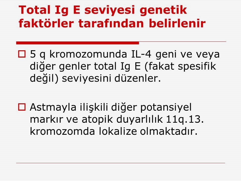 Total Ig E seviyesi genetik faktörler tarafından belirlenir