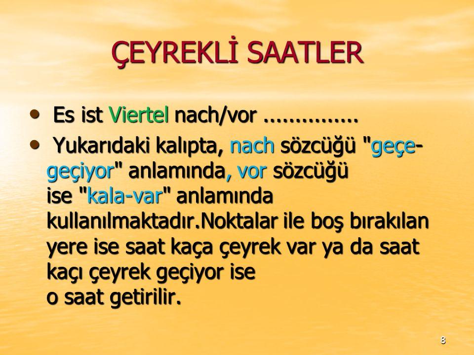 ÇEYREKLİ SAATLER Es ist Viertel nach/vor ...............