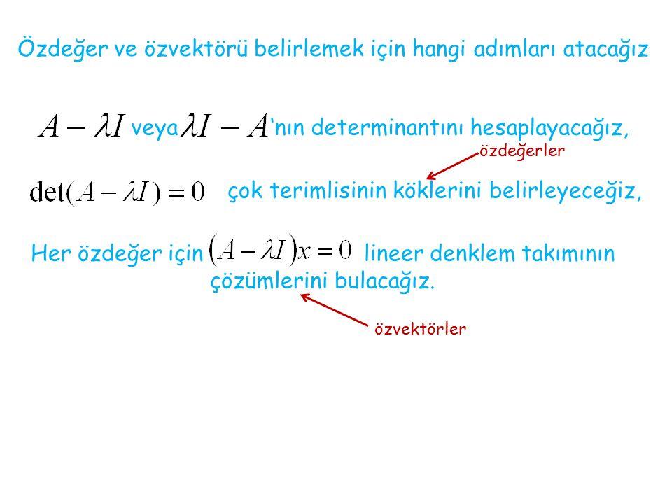 Her özdeğer için lineer denklem takımının çözümlerini bulacağız.