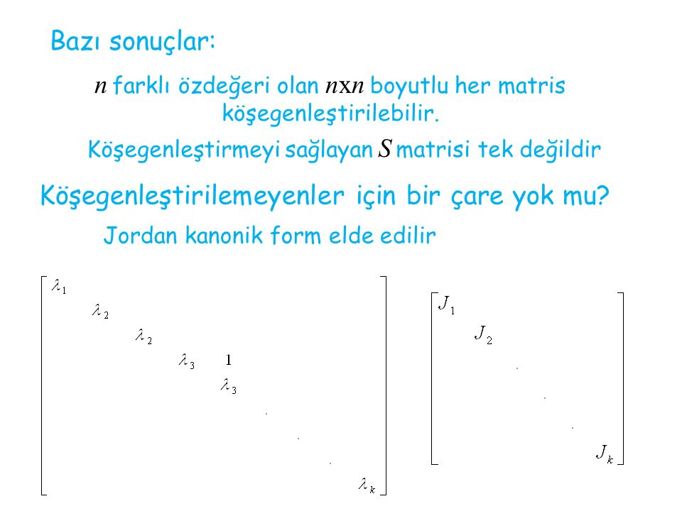n farklı özdeğeri olan nxn boyutlu her matris köşegenleştirilebilir.