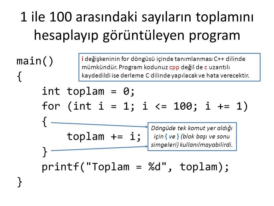 1 ile 100 arasındaki sayıların toplamını hesaplayıp görüntüleyen program