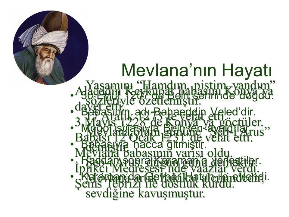 Mevlana'nın Hayatı Yaşamını Hamdım, piştim, yandım sözleriyle özetlemiştir. 17 Aralık 1273'te vefat etti.