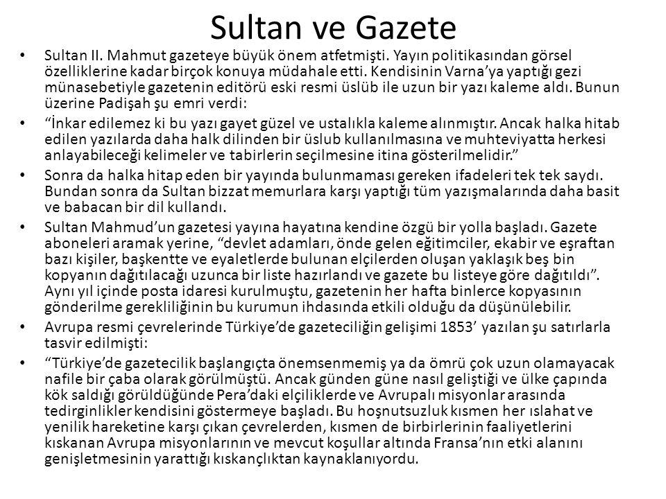 Sultan ve Gazete