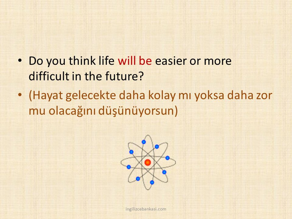 Do you think life will be easier or more difficult in the future