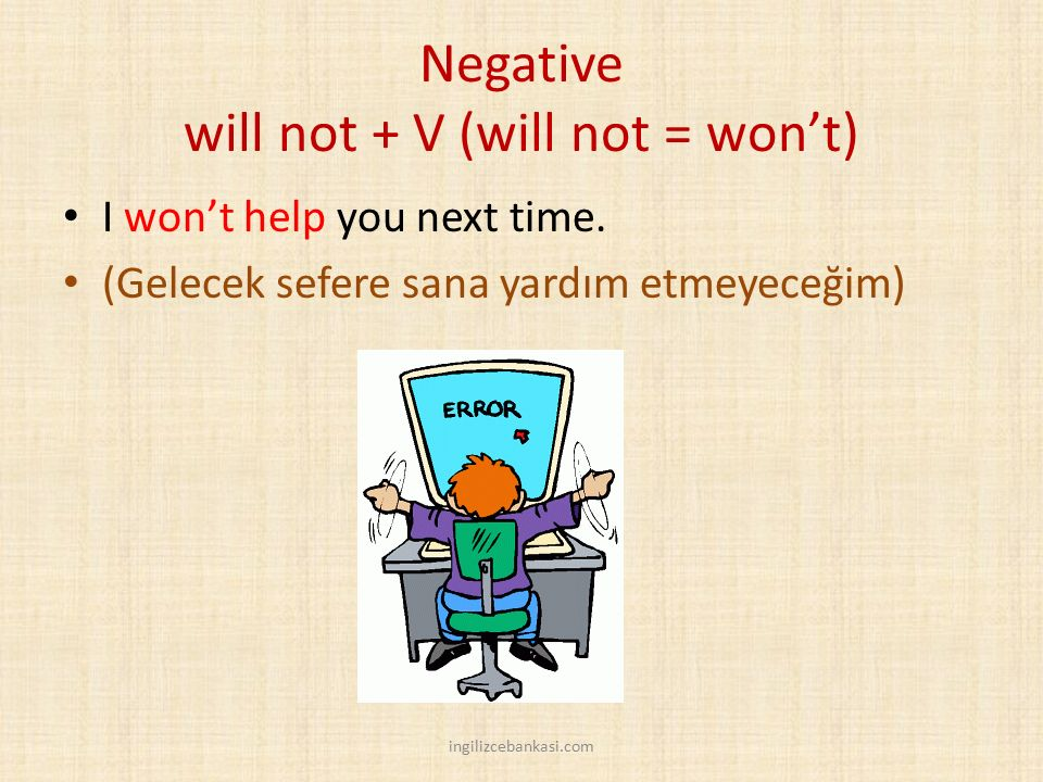 Negative will not + V (will not = won't)