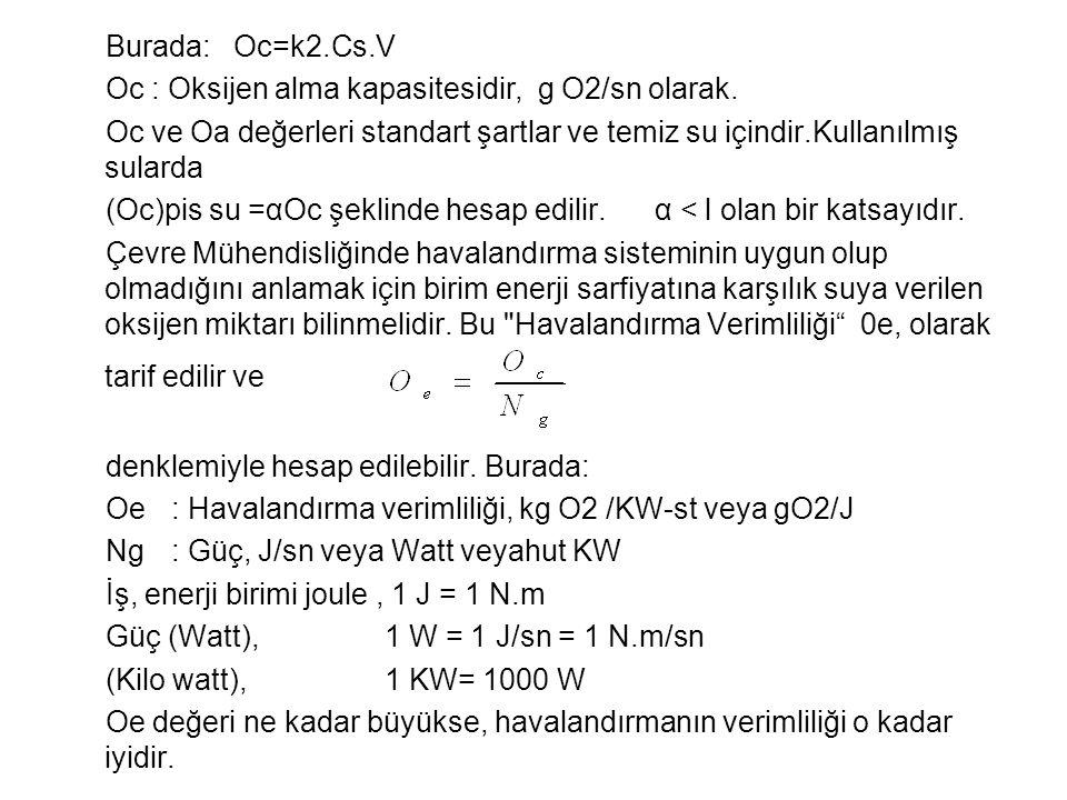 Burada: Oc=k2.Cs.V Oc : Oksijen alma kapasitesidir, g O2/sn olarak. Oc ve Oa değerleri standart şartlar ve temiz su içindir.Kullanılmış sularda.