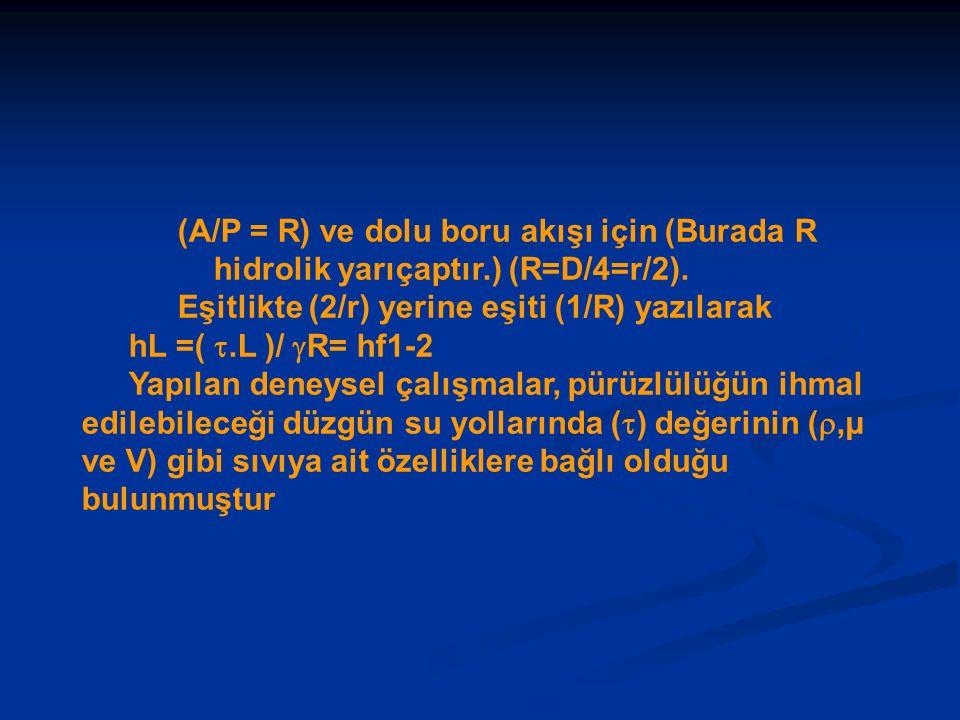 (A/P = R) ve dolu boru akışı için (Burada R hidrolik yarıçaptır