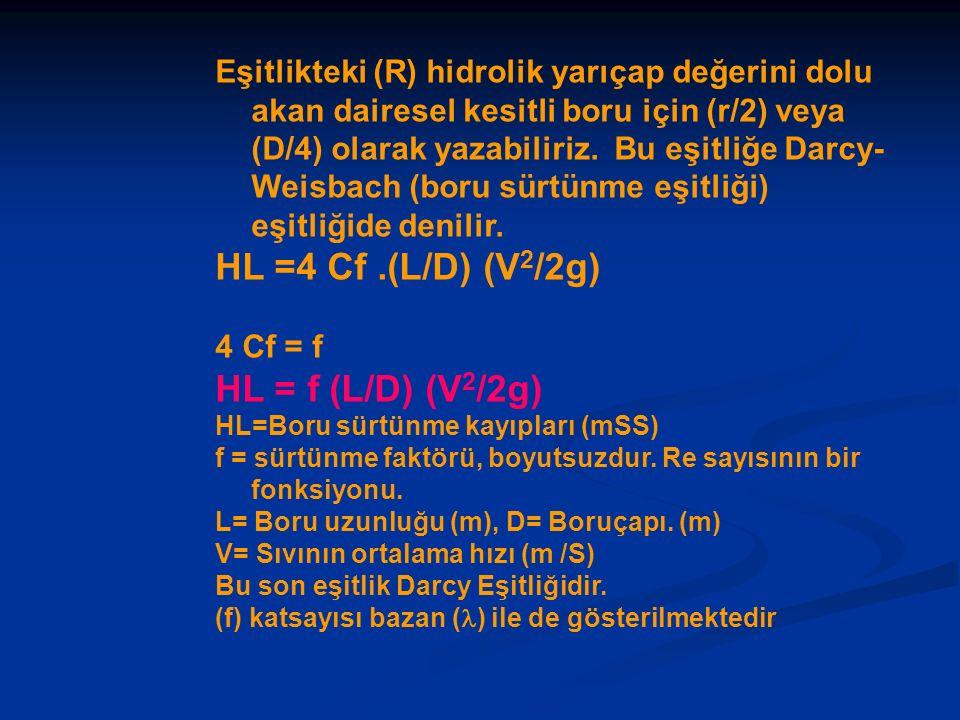 HL =4 Cf .(L/D) (V2/2g) HL = f (L/D) (V2/2g)