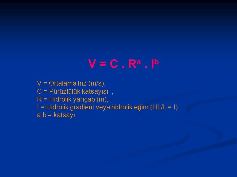 V = C . Ra . Ib V = Ortalama hız (m/s), C = Pürüzlülük katsayısı ,