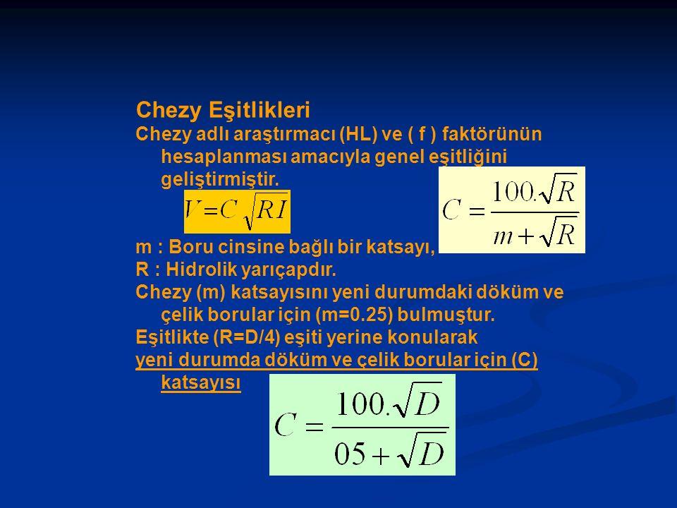 Chezy Eşitlikleri Chezy adlı araştırmacı (HL) ve ( f ) faktörünün hesaplanması amacıyla genel eşitliğini geliştirmiştir.