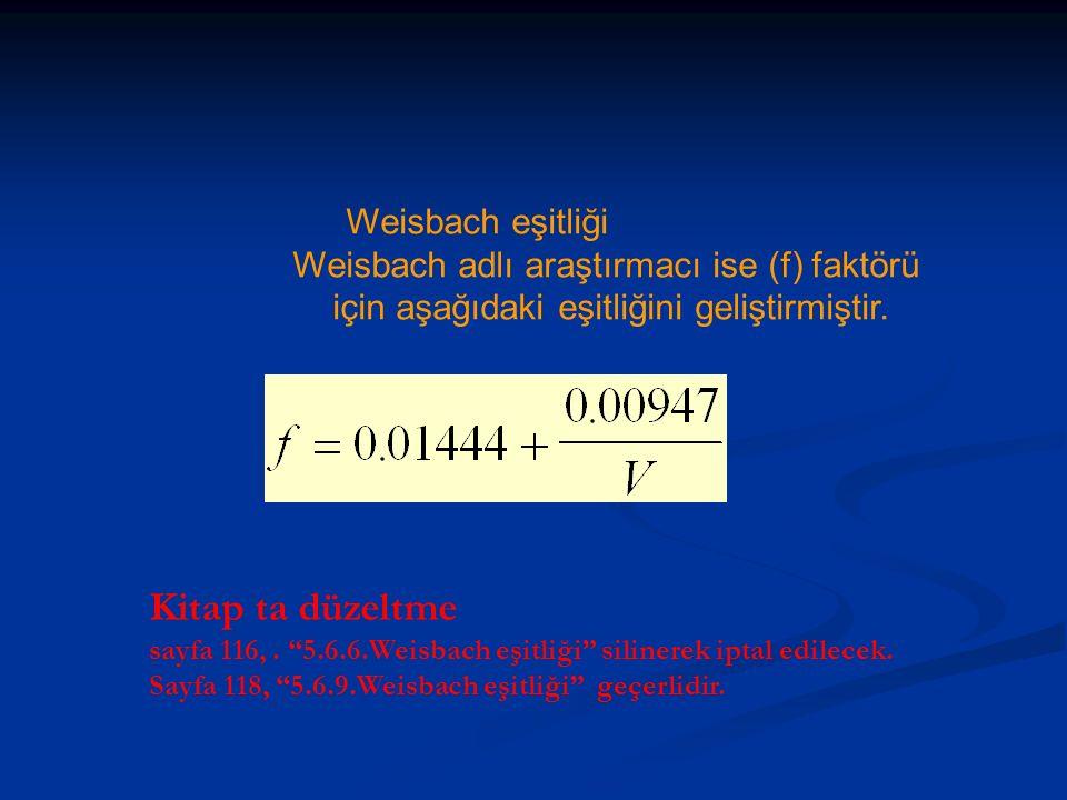 Kitap ta düzeltme Weisbach eşitliği
