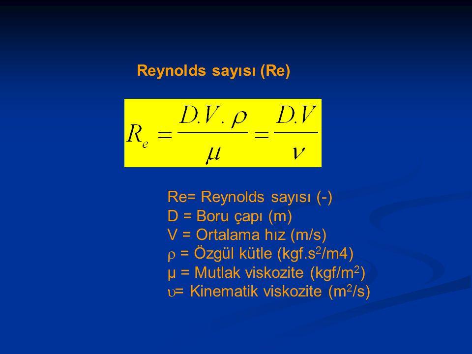 Reynolds sayısı (Re) Re= Reynolds sayısı (-) D = Boru çapı (m) V = Ortalama hız (m/s)  = Özgül kütle (kgf.s2/m4)