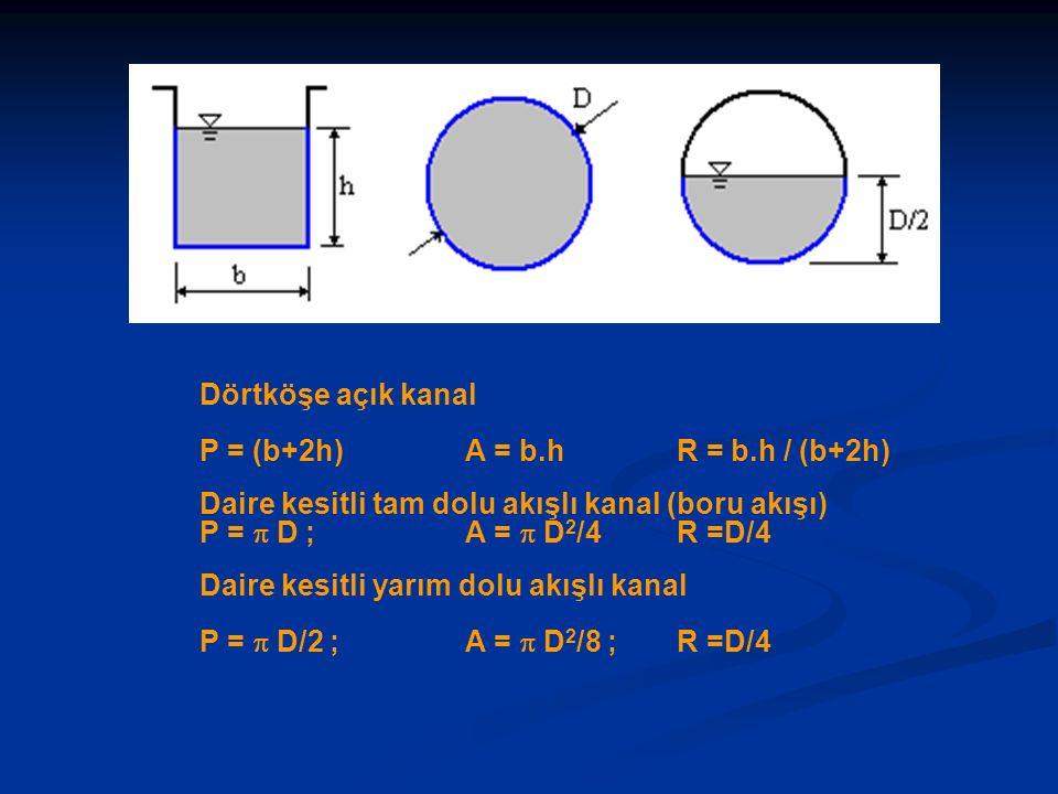 Dörtköşe açık kanal P = (b+2h) A = b.h R = b.h / (b+2h) Daire kesitli tam dolu akışlı kanal (boru akışı)