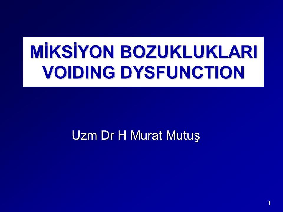 MİKSİYON BOZUKLUKLARI VOIDING DYSFUNCTION