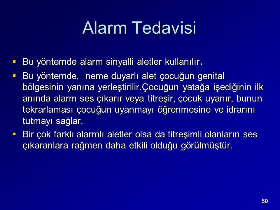 Alarm Tedavisi Bu yöntemde alarm sinyalli aletler kullanılır.
