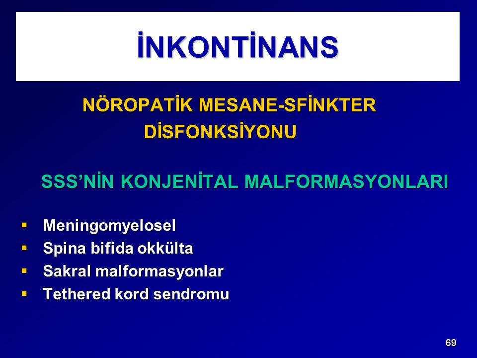 İNKONTİNANS NÖROPATİK MESANE-SFİNKTER DİSFONKSİYONU