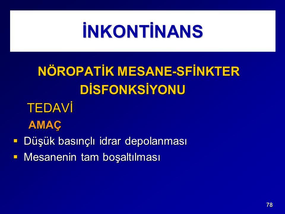 İNKONTİNANS NÖROPATİK MESANE-SFİNKTER DİSFONKSİYONU TEDAVİ AMAÇ