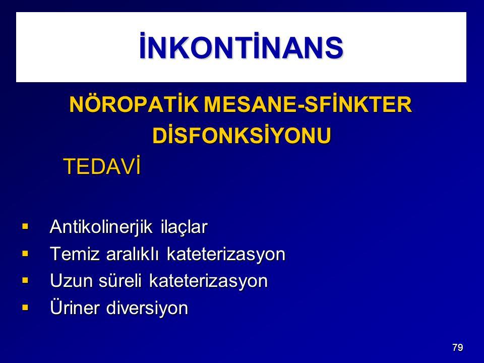 İNKONTİNANS NÖROPATİK MESANE-SFİNKTER DİSFONKSİYONU TEDAVİ