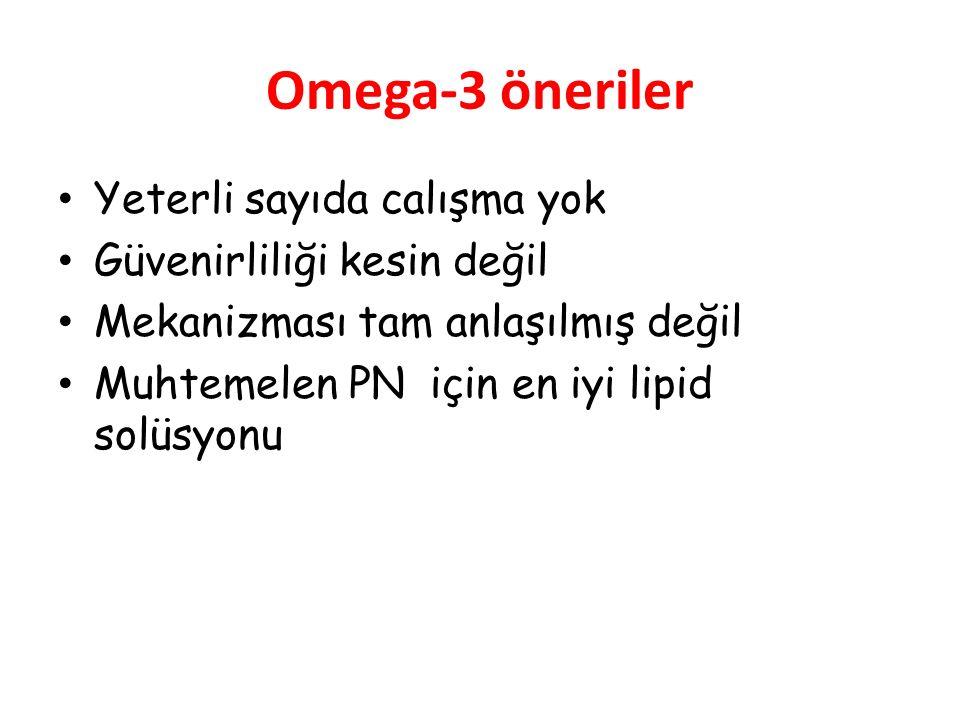 Omega-3 öneriler Yeterli sayıda calışma yok Güvenirliliği kesin değil
