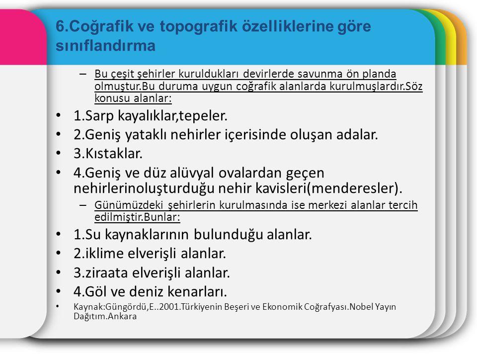6.Coğrafik ve topografik özelliklerine göre sınıflandırma