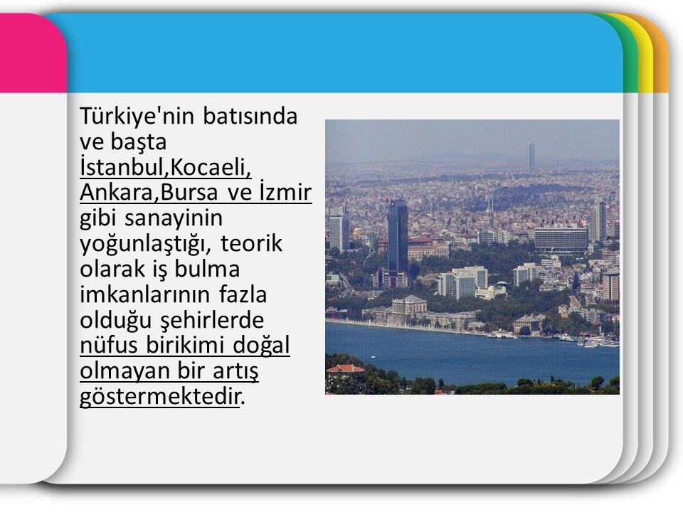 Türkiye nin batısında ve başta İstanbul,Kocaeli, Ankara,Bursa ve İzmir gibi sanayinin yoğunlaştığı, teorik olarak iş bulma imkanlarının fazla olduğu şehirlerde nüfus birikimi doğal olmayan bir artış göstermektedir.