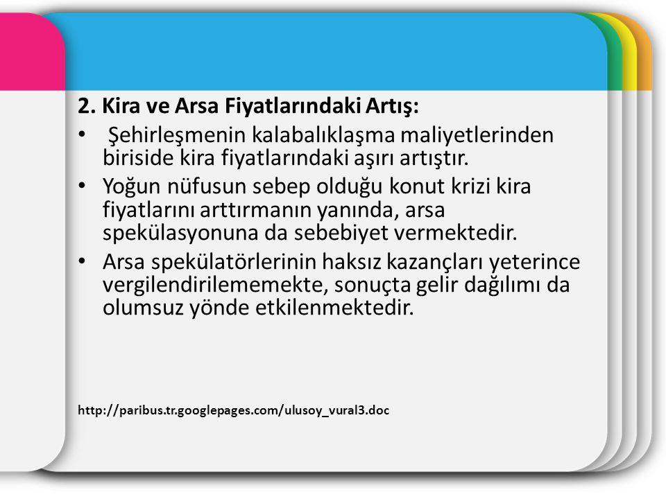 2. Kira ve Arsa Fiyatlarındaki Artış: