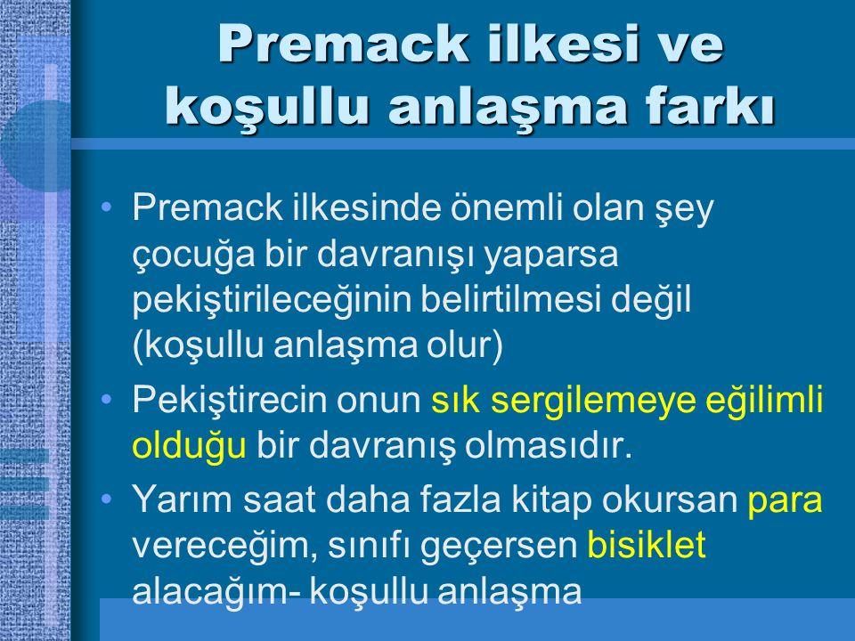 Premack ilkesi ve koşullu anlaşma farkı