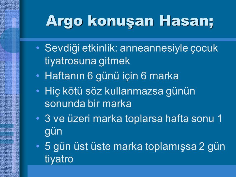 Argo konuşan Hasan; Sevdiği etkinlik: anneannesiyle çocuk tiyatrosuna gitmek. Haftanın 6 günü için 6 marka.