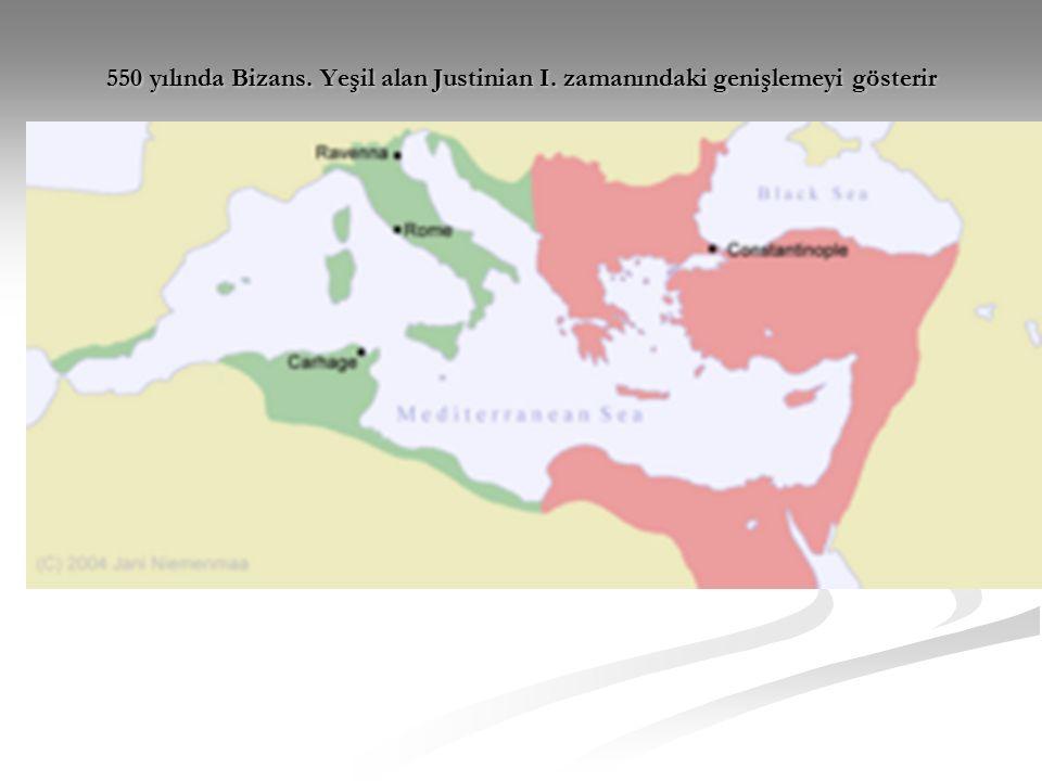550 yılında Bizans. Yeşil alan Justinian I