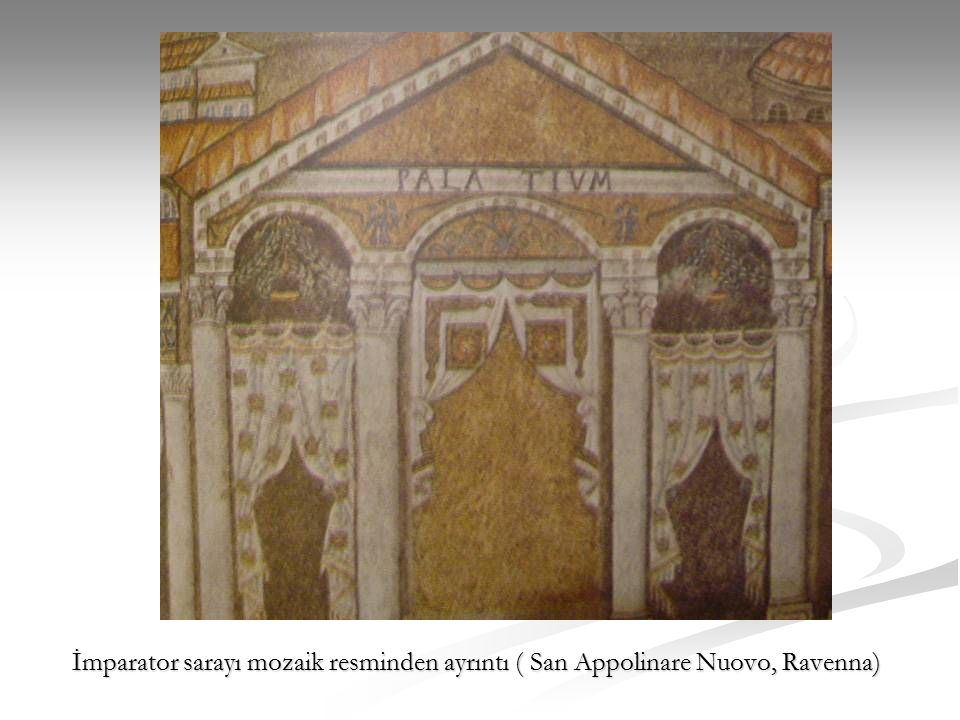 İmparator sarayı mozaik resminden ayrıntı ( San Appolinare Nuovo, Ravenna)