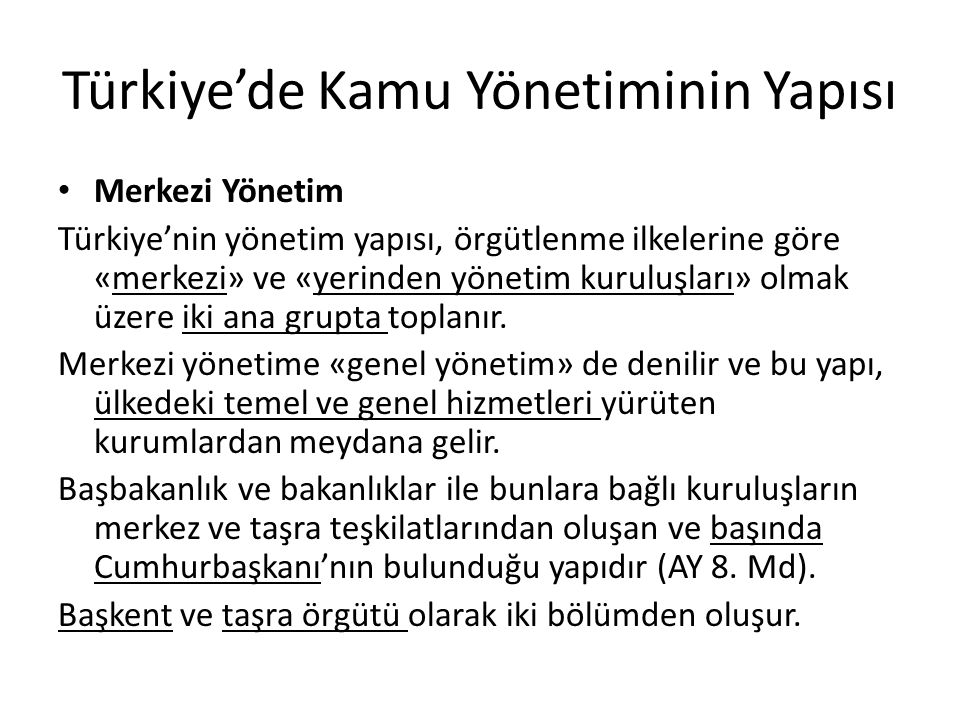 Türkiye'de Kamu Yönetiminin Yapısı